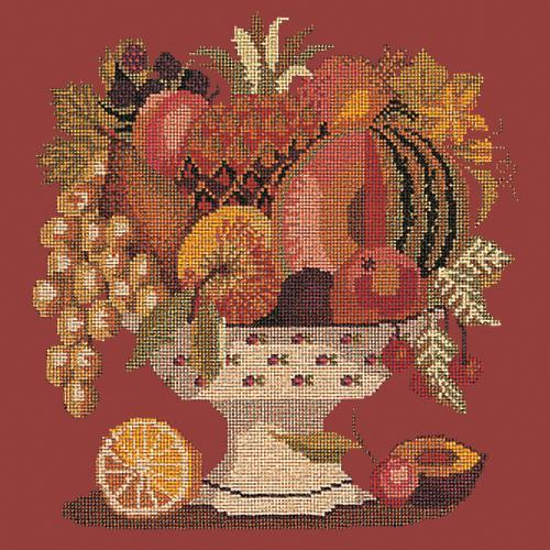 Bowl of Fruit Needlepoint Kit Elizabeth Bradley Design Dark Red