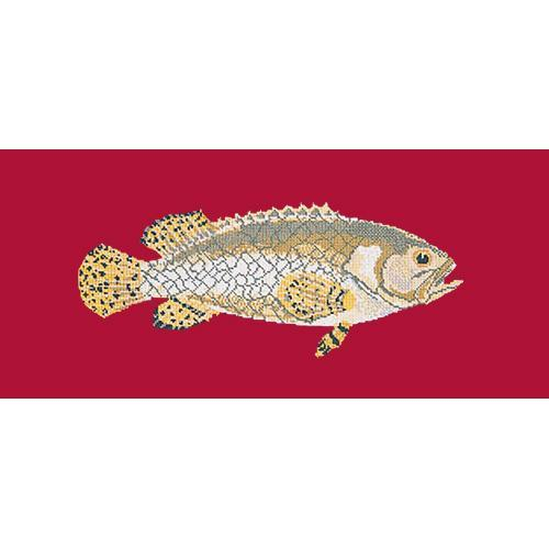 Brindled Grouper Needlepoint Kit Elizabeth Bradley Design Bright Red