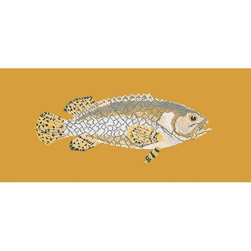 Brindled Grouper Needlepoint Kit Elizabeth Bradley Design Yellow