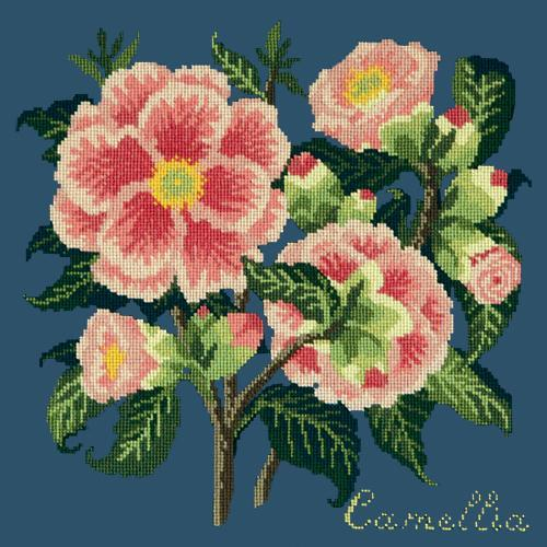 Camellia Needlepoint Kit Elizabeth Bradley Design Dark Blue