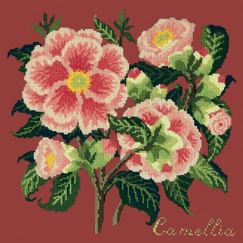 Camellia Needlepoint Kit Elizabeth Bradley Design Dark Red