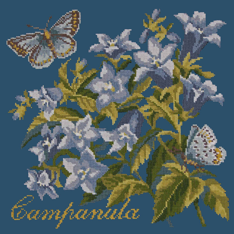Campanula Needlepoint Kit Elizabeth Bradley Design Dark Blue