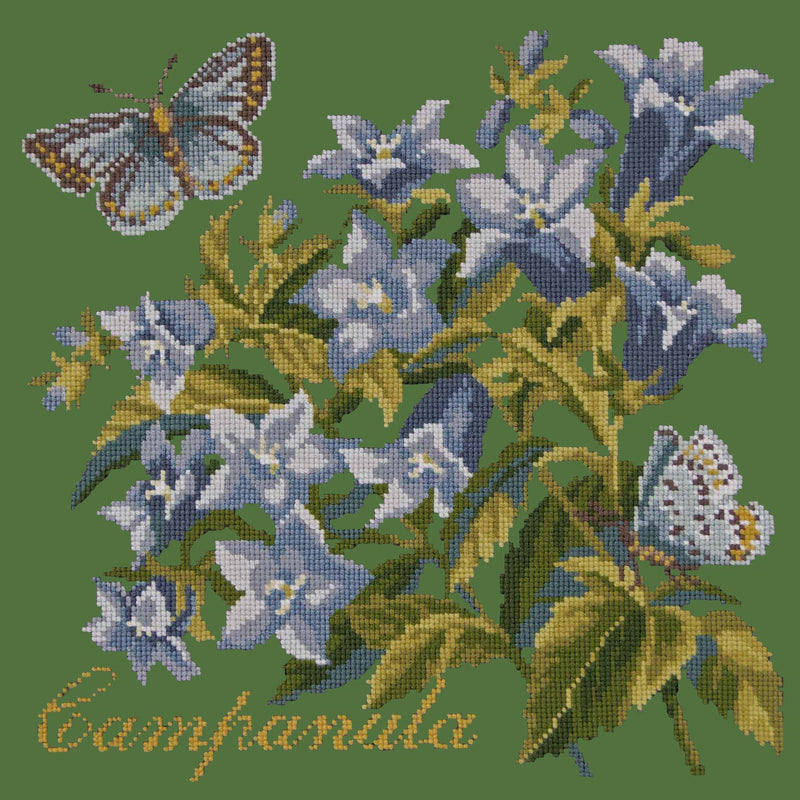 Campanula Needlepoint Kit Elizabeth Bradley Design Dark Green