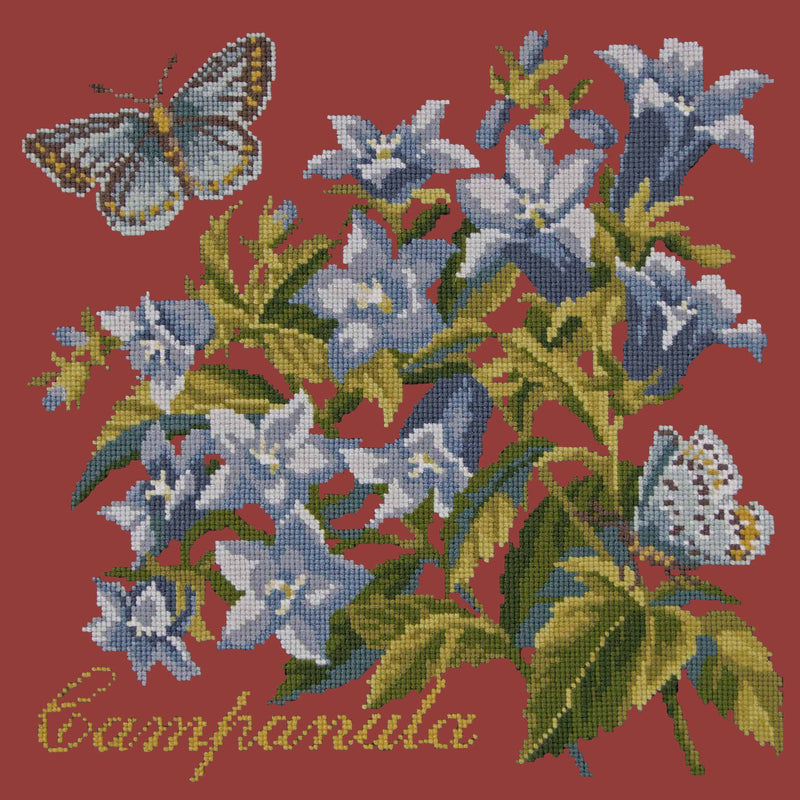 Campanula Needlepoint Kit Elizabeth Bradley Design Dark Red