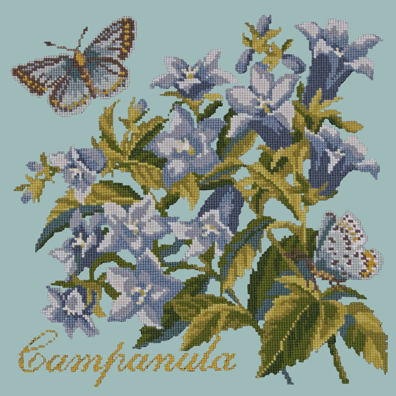 Campanula Needlepoint Kit Elizabeth Bradley Design Pale Blue