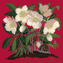 Christmas Rose Needlepoint Kit Elizabeth Bradley Design Bright Red