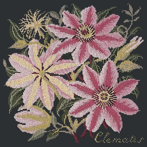 Clematis Needlepoint Kit Elizabeth Bradley Design Black