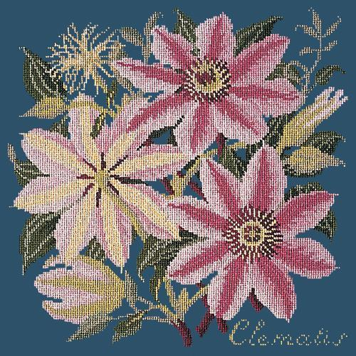 Clematis Needlepoint Kit Elizabeth Bradley Design Dark Blue