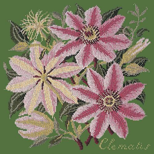 Clematis Needlepoint Kit Elizabeth Bradley Design Dark Green