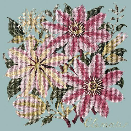 Clematis Needlepoint Kit Elizabeth Bradley Design Pale Blue