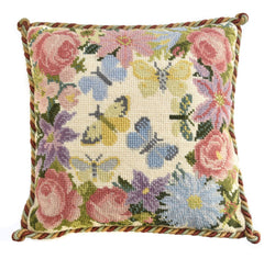 Clematis, Rose, and Butterflies Needlepoint Kit Elizabeth Bradley Design