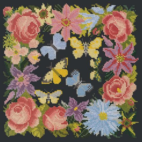 Clematis, Rose, and Butterflies Needlepoint Kit Elizabeth Bradley Design Black