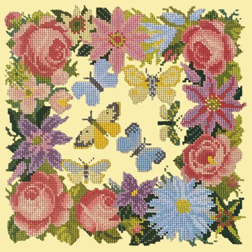 Clematis, Rose, and Butterflies Needlepoint Kit Elizabeth Bradley Design Butter Yellow