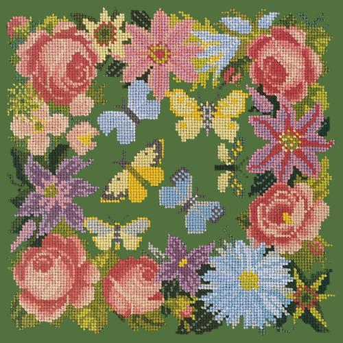 Clematis, Rose, and Butterflies Needlepoint Kit Elizabeth Bradley Design Dark Green