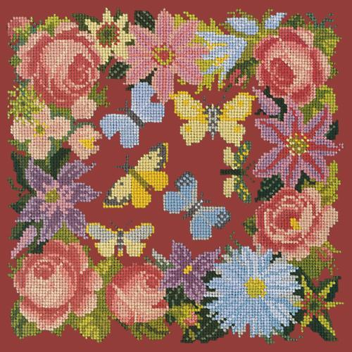 Clematis, Rose, and Butterflies Needlepoint Kit Elizabeth Bradley Design Dark Red