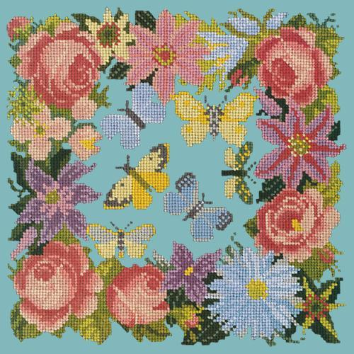 Clematis, Rose, and Butterflies Needlepoint Kit Elizabeth Bradley Design Duck Egg Blue