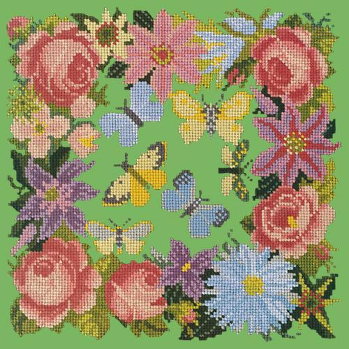 Clematis, Rose, and Butterflies Needlepoint Kit Elizabeth Bradley Design Grass Green