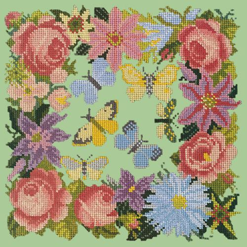 Clematis, Rose, and Butterflies Needlepoint Kit Elizabeth Bradley Design Pale Green