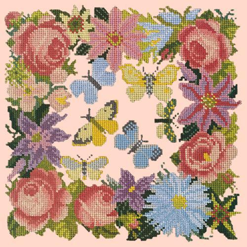 Clematis, Rose, and Butterflies Needlepoint Kit Elizabeth Bradley Design Salmon Pink