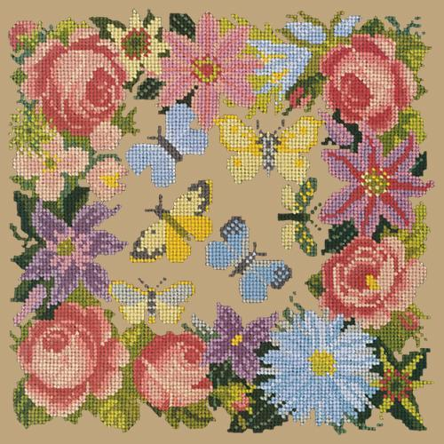 Clematis, Rose, and Butterflies Needlepoint Kit Elizabeth Bradley Design Sand