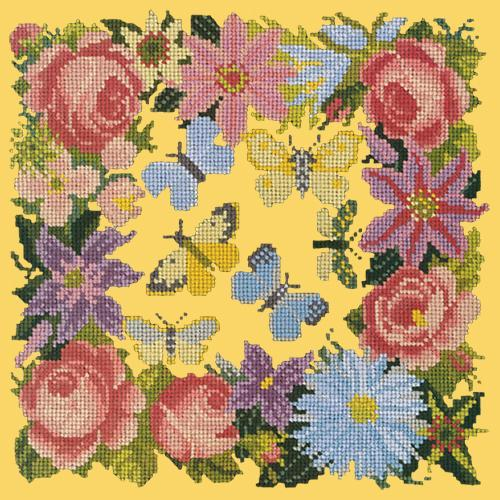 Clematis, Rose, and Butterflies Needlepoint Kit Elizabeth Bradley Design Sunflower Yellow