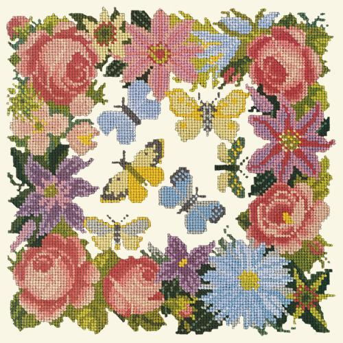Clematis, Rose, and Butterflies Needlepoint Kit Elizabeth Bradley Design Winter White