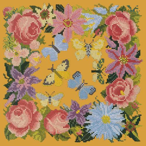 Clematis, Rose, and Butterflies Needlepoint Kit Elizabeth Bradley Design Yellow