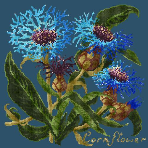 Cornflower Needlepoint Kit Elizabeth Bradley Design Dark Blue