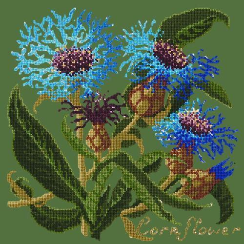 Cornflower Needlepoint Kit Elizabeth Bradley Design Dark Green