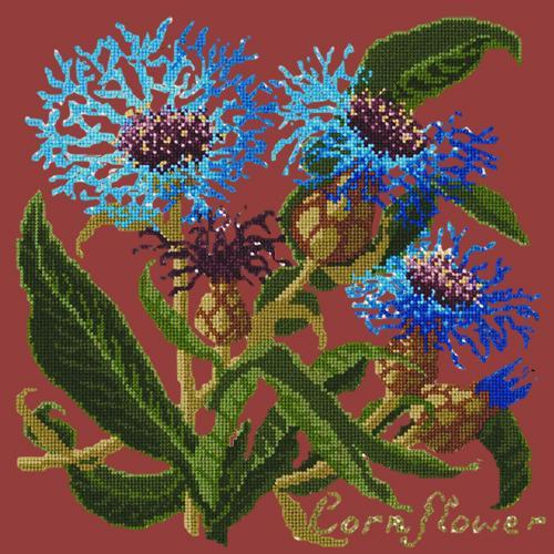 Cornflower Needlepoint Kit Elizabeth Bradley Design Dark Red