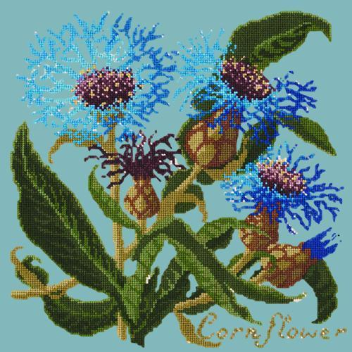 Cornflower Needlepoint Kit Elizabeth Bradley Design Duck Egg Blue