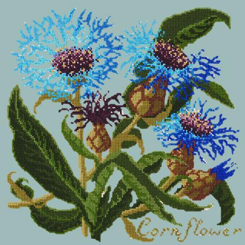 Cornflower Needlepoint Kit Elizabeth Bradley Design Pale Blue