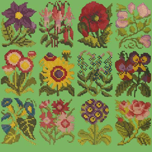 Cottage Garden Favourites Needlepoint Kit Elizabeth Bradley Design Grass Green