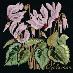 Cyclamen Needlepoint Kit Elizabeth Bradley Design Black