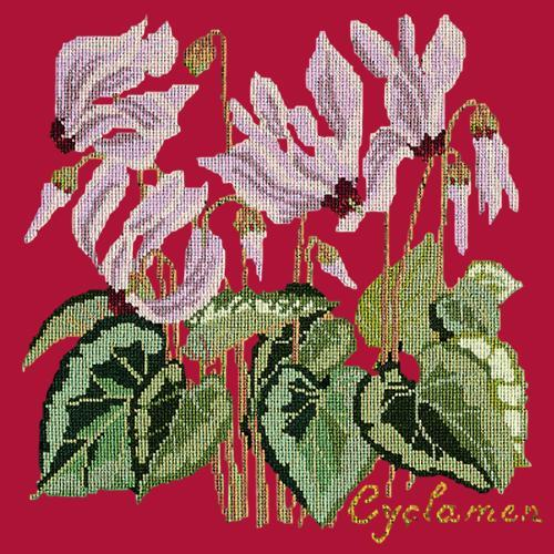 Cyclamen Needlepoint Kit Elizabeth Bradley Design Bright Red