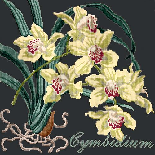 Cymbidium (Boat Orchid) Needlepoint Kit Elizabeth Bradley Design Black