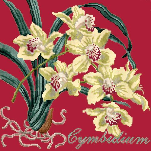 Cymbidium (Boat Orchid) Needlepoint Kit Elizabeth Bradley Design Bright Red