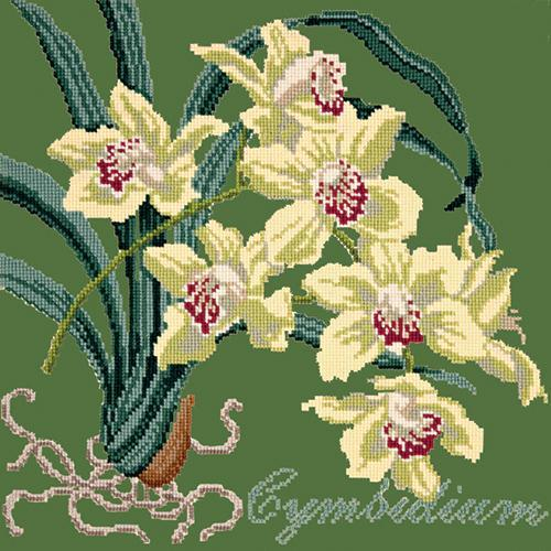 Cymbidium (Boat Orchid) Needlepoint Kit Elizabeth Bradley Design Dark Green