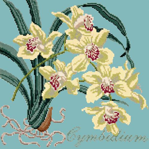 Cymbidium (Boat Orchid) Needlepoint Kit Elizabeth Bradley Design Duck Egg Blue