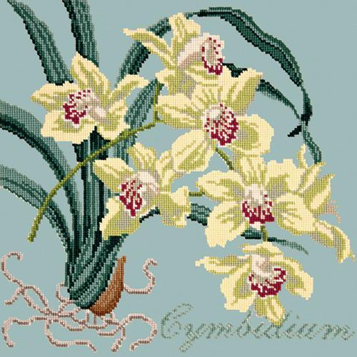 Cymbidium (Boat Orchid) Needlepoint Kit Elizabeth Bradley Design Pale Blue