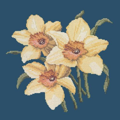 Daffodils Needlepoint Kit Elizabeth Bradley Design Dark Blue