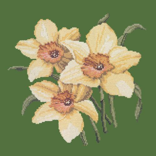 Daffodils Needlepoint Kit Elizabeth Bradley Design Dark Green