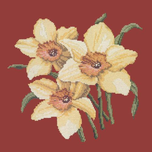 Daffodils Needlepoint Kit Elizabeth Bradley Design Dark Red