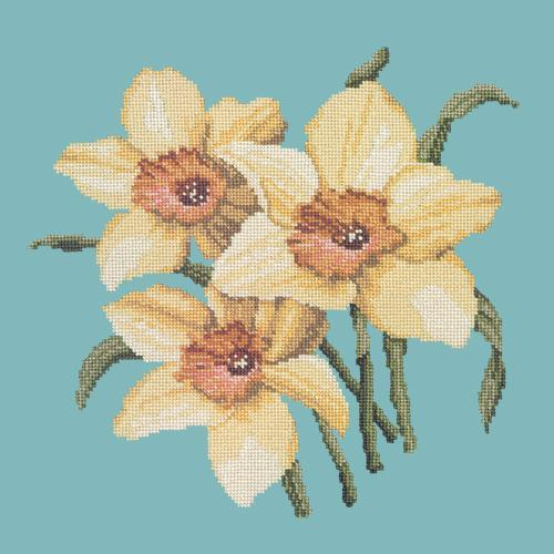 Daffodils Needlepoint Kit Elizabeth Bradley Design Duck Egg Blue