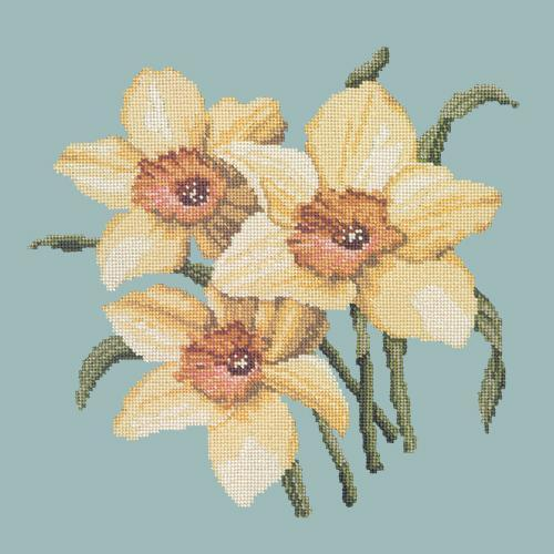 Daffodils Needlepoint Kit Elizabeth Bradley Design Pale Blue