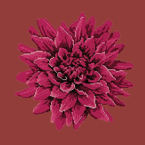 Dahlia Needlepoint Kit Elizabeth Bradley Design Dark Red
