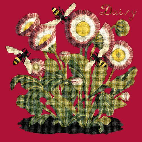 Daisy Needlepoint Kit Elizabeth Bradley Design Bright Red