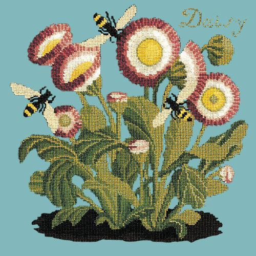 Daisy Needlepoint Kit Elizabeth Bradley Design Duck Egg Blue