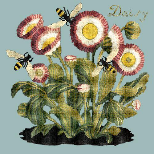 Daisy Needlepoint Kit Elizabeth Bradley Design Pale Blue