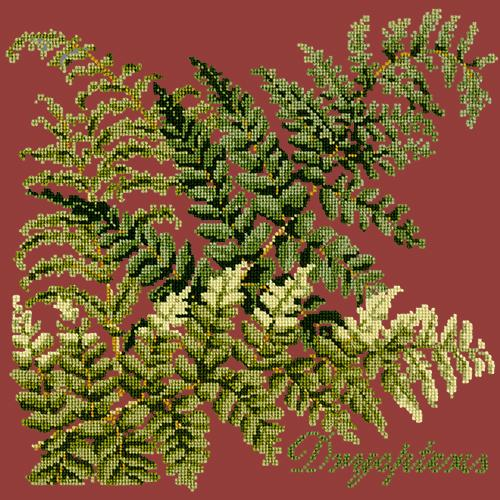 Dryopteris Needlepoint Kit Elizabeth Bradley Design Dark Red